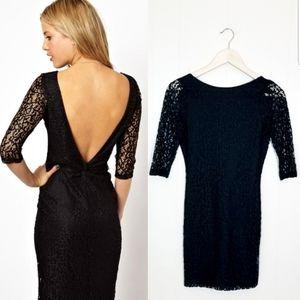 ASOS Petites Twist Back Lace Little Black Dress